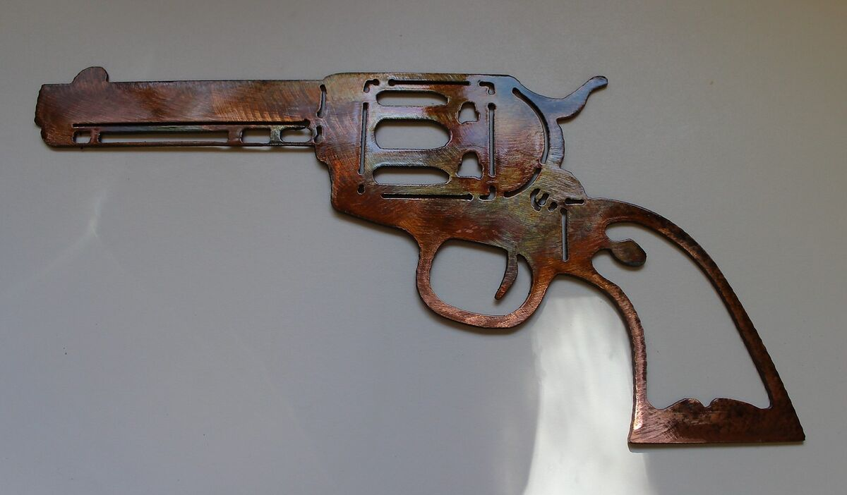 Colt 1873 Peacemaker Metal Wall Art Decor Copper Bronze Plated