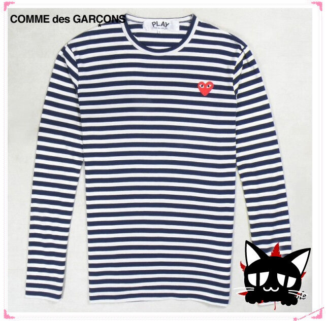Comme Des Garcons Play Navy Striped T Shirt Size M