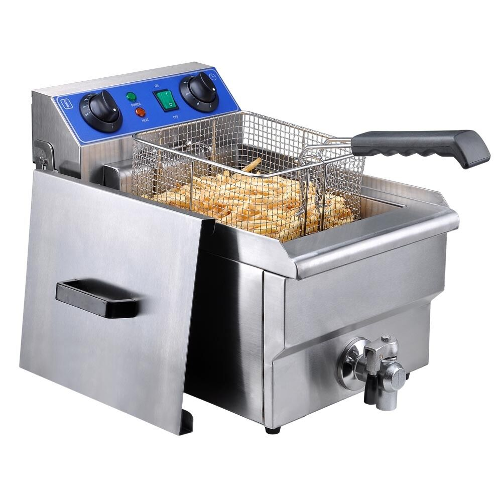 Commercial Electric 10L Deep Fryer w Timer and Drain Stainless Steel
