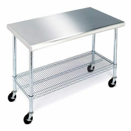 Industrial Kitchen Storage: Commercial Kitchen Rolling Workbench Table Stainless Top