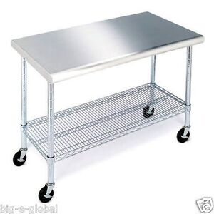 ... -Kitchen-Rolling-Workbench-Table-Stainless-Top-Wire-Storage-Shelving
