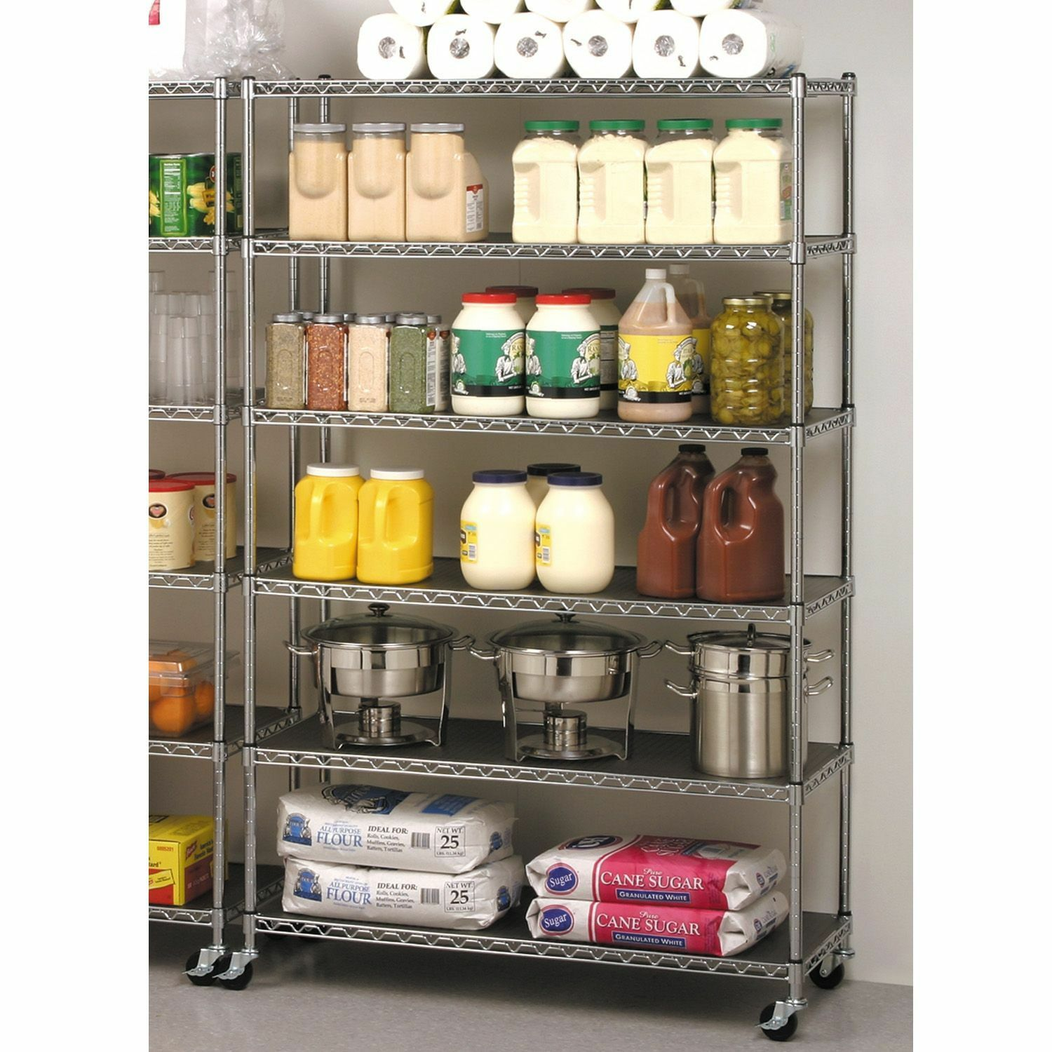 COMMERCIAL METAL STEEL ROLLING STORAGE SHELVING RACK CHROME WIRE SHELF  3  034  CASTER   eBay. COMMERCIAL METAL STEEL ROLLING STORAGE SHELVING RACK CHROME WIRE