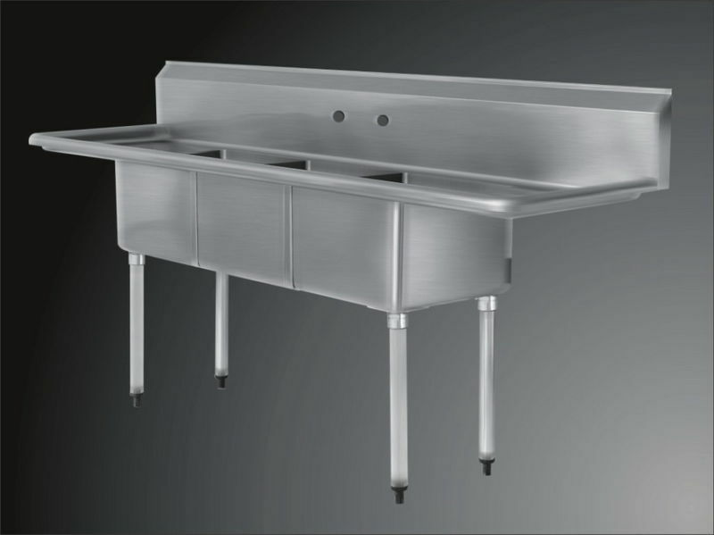 Commercial Sink 3 Compartment : Commercial Stainless Steel 3 Three Compartment Sink 90 x 24 New eBay