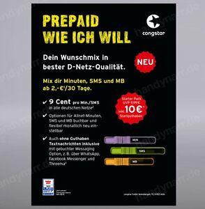 Congstar-Prepaid-Handy-SIM-Karte-10-Guthaben-T-Mobile-D1-Netz-T-Com-xtra-Card