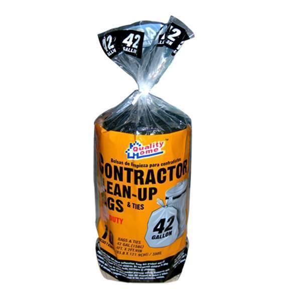 Contractor Clean Up Bags Ties Heavy Duty Garbage Bags 42 Gallon 10 Count
