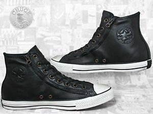 converse chucks hi double zip leather jet black 43 9 5. Black Bedroom Furniture Sets. Home Design Ideas