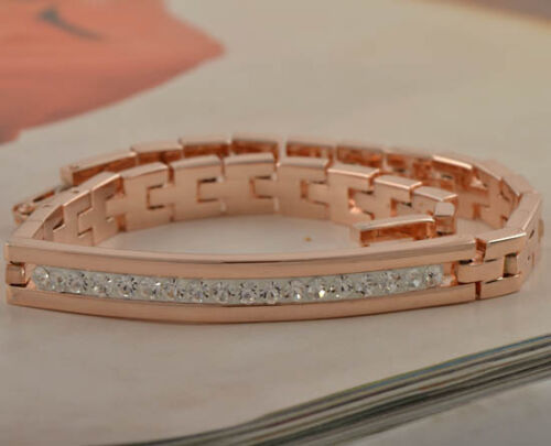 Cool 9K Rose Gold Filled CZ Mens/Womens Bracelet,W-273 in Jewelry & Watches, Men's Jewelry, Bracelets | eBay