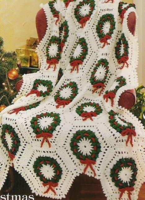 Crochet Pattern Afghan Throw Blanket Cosy Christmas Holly Wreaths Ebay