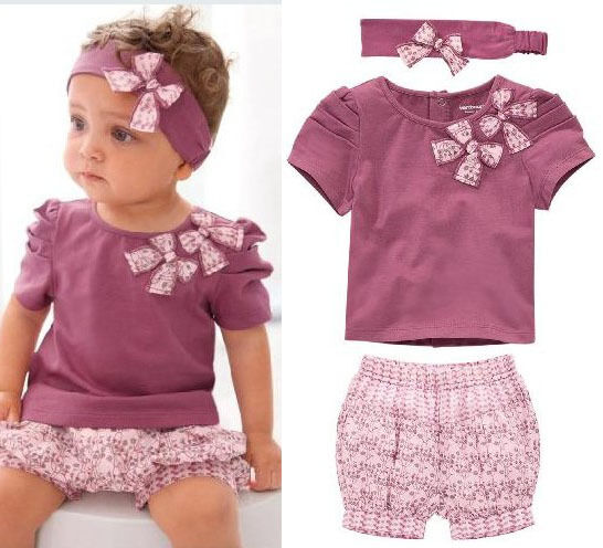 Short Top+ Pants+Headband Girl Baby Costume Clothing clothes