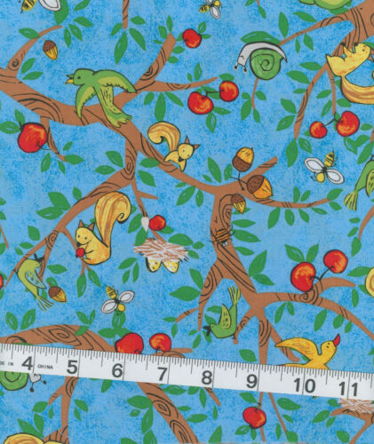 Cotton Quilt Fabric Farm Out! PB Textiles Blue, squirrels birds apples 1 yd SALE in Crafts, Sewing & Fabric, Fabric | eBay