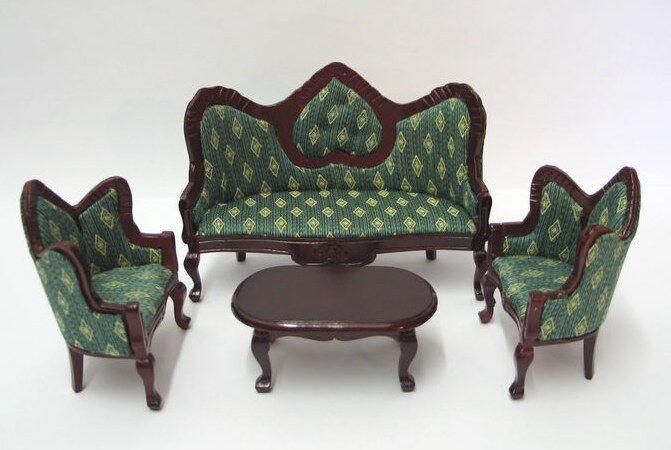 Couchgarnitur Sofa, Sessel, Tisch grün Puppenhausmöbel ...