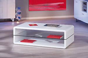 couchtisch wei hochglanz wohnzimmertisch glas wohnzimmer tisch 2 ablagen modern ebay. Black Bedroom Furniture Sets. Home Design Ideas