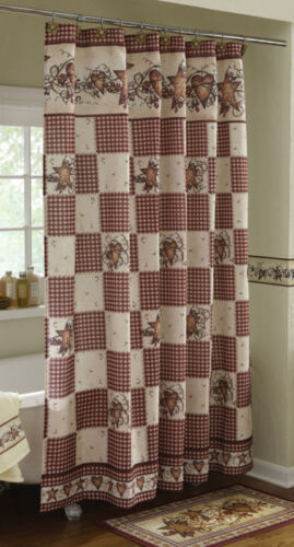 Country Hearts Stars Berries Folk Art Bathroom Shower Curtain Bath Rug Decor in Home & Garden, Bath, Shower Curtains | eBay