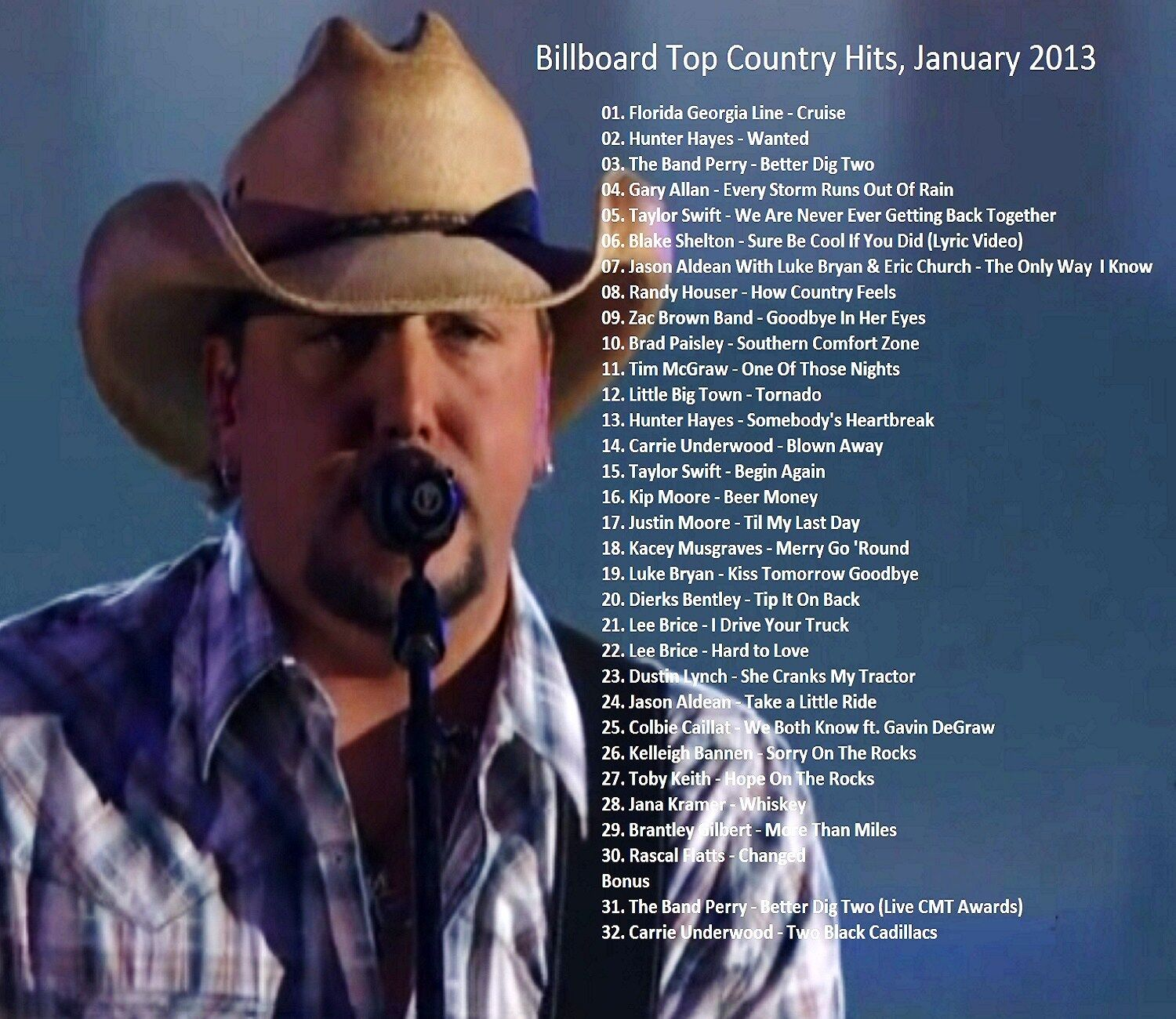 Compilation of Music Videos,Billboard Top Country Hits,January 2013.