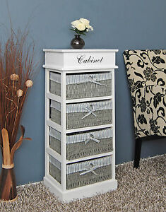country style kommode schrank wei flurregal mit 4 flecht k rben in grau neu ebay. Black Bedroom Furniture Sets. Home Design Ideas