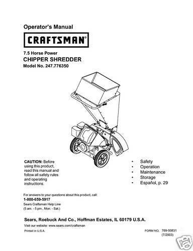 Craftsman Chipper Shredder Manual Model On