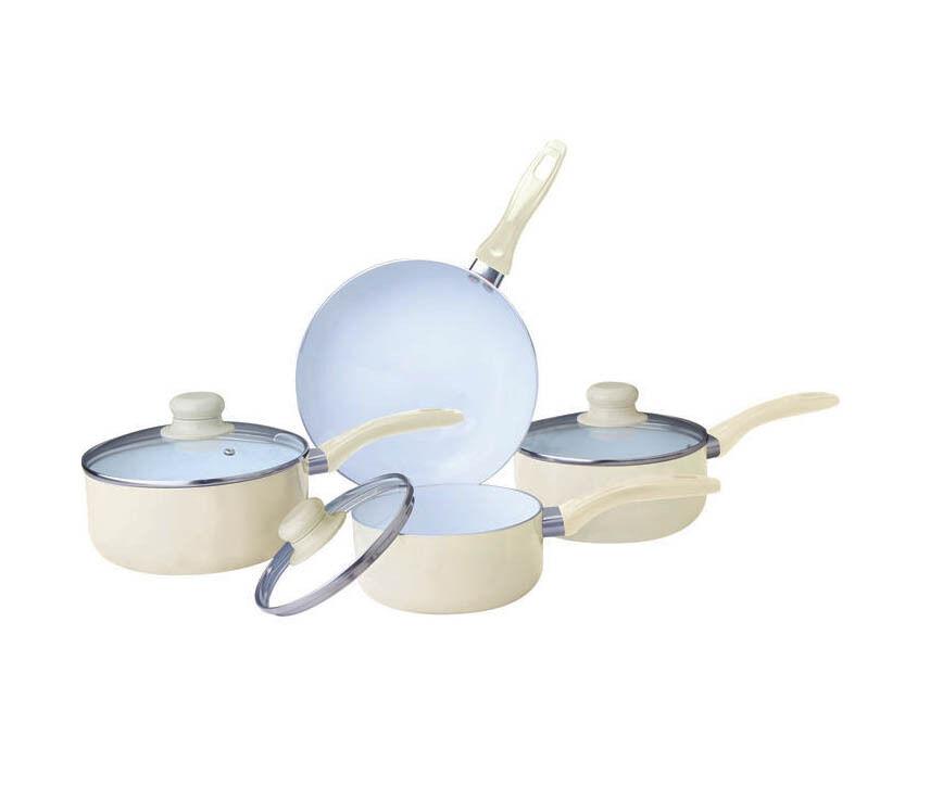 Cream 7pc Non Stick Ceramic Coated Aluminium Saucepan Pot