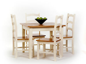 cream country shaker painted square dining kitchen table with 4 chairs