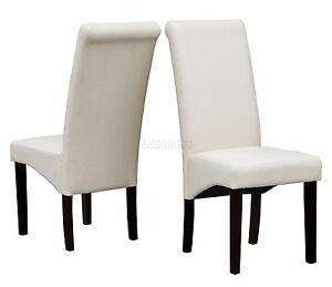 cream modern dining room chair faux leather roll top scroll high back