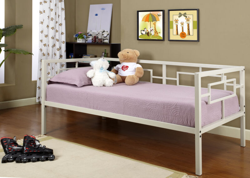 Cream White Metal Twin Size Miami Day Bed Daybed Frame