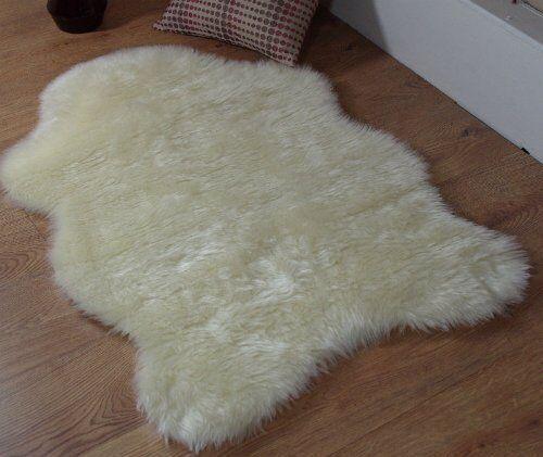 Cream Ivory Soft Faux Fur Sheepskin Style Rug 70 X 100cm