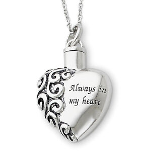 Cremation Pendant Urn - Always In My Heart w/ .925 Silver Plate Chain - SALE in Everything Else, Funeral & Cemetery, Cremation Urns | eBay