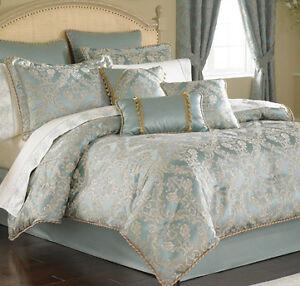 croscill bonneville napoleon queen comforter sheet drapes 12pc set blue gold ebay. Black Bedroom Furniture Sets. Home Design Ideas