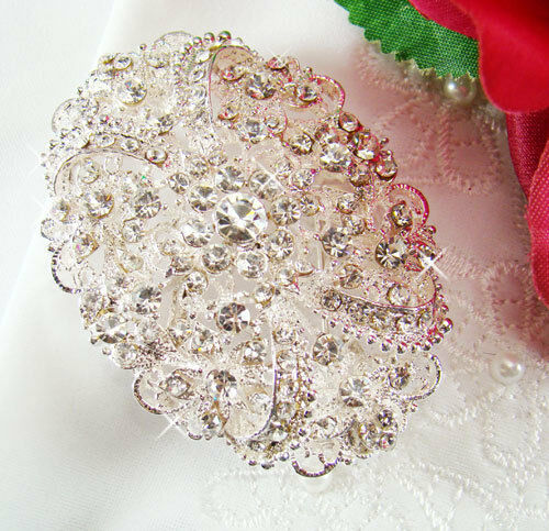Crystal Bridal Brooch Vintage Oval Wedding Hair Comb