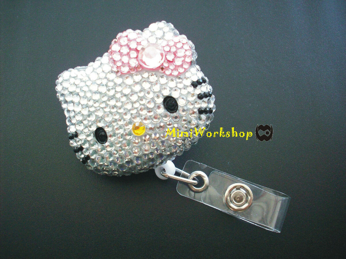 Crystal Pink Bow Hello Kitty Retractable ID Card Badge Holder