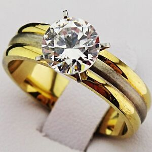 Cubic Zirconia 18K Gold Stainless Steel Engagement Wedding Frosted Ring Size 11 - Walldorf, Baden-Württemberg, Deutschland - Cubic Zirconia 18K Gold Stainless Steel Engagement Wedding Frosted Ring Size 11 - Walldorf, Baden-Württemberg, Deutschland