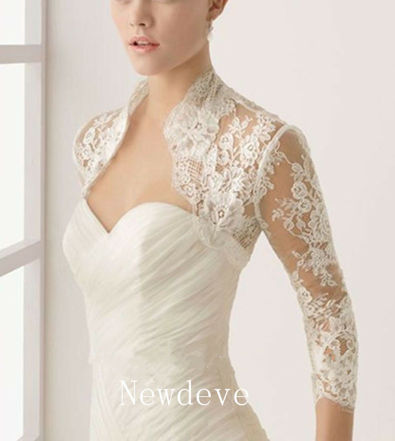 Details About Lace Top 3 4 Sleeves Bridal Wedding Jacket White Ivory Bolero Plus Size Shrug
