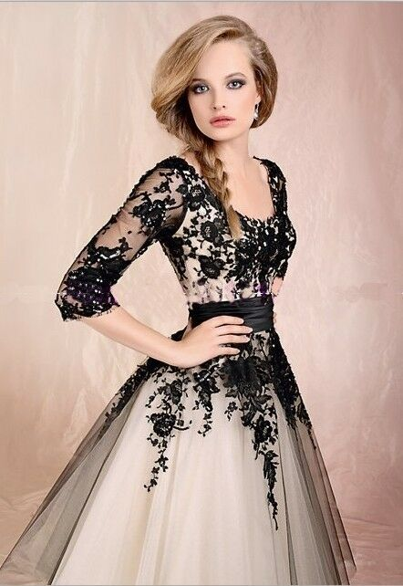 Custom New Tulle Tea Length A-Line Cocktail Prom Dresses Evening Bridal Gowns