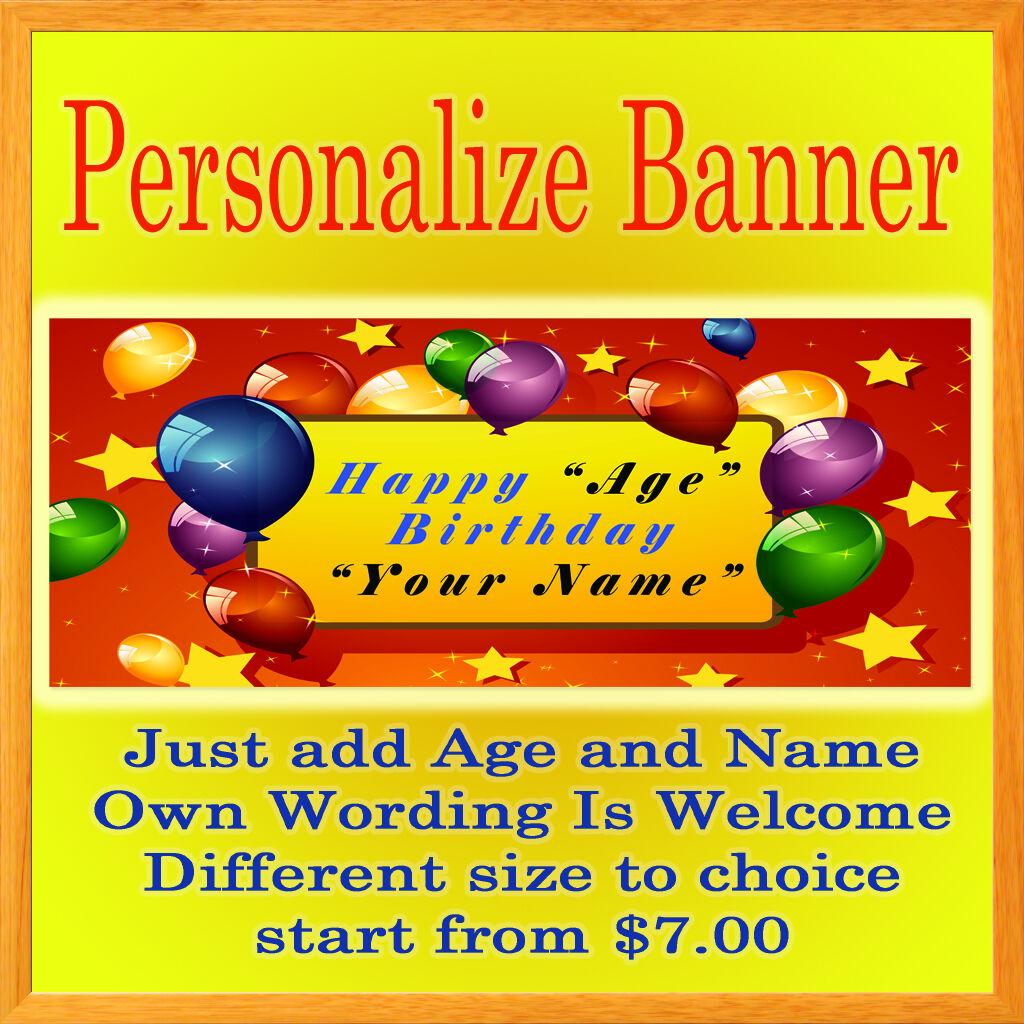 Custom Personalized Birthday Party Vinyl Banner