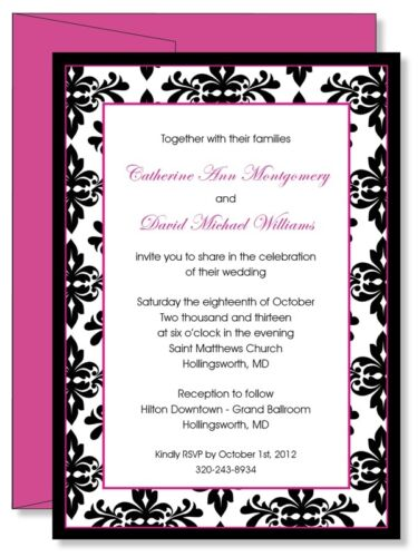Custom Personalized Magenta Damask Bridal Shower Wedding Invitations in Specialty Services, Printing & Personalization, Invitations & Announcements | eBay
