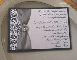 Custom wedding invitation black damask amp rhinestone ebay for Black and white bling wedding invitations