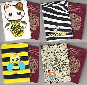 Cute passport holder bag travel gift maneki neko bird cat zebra bee