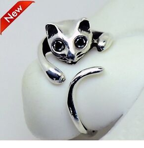 Cute-Silver-Cat-Shaped-Ring-With-Rhinestone-Eyes-Adjustable-and-Resizeable