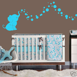 ... Elephant Bubbles Wall Decal Vinyl Wall Nursery Room Decor Gift | eBay