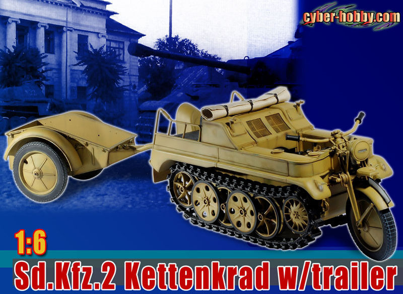 "Cyber Hobby 1/6 Scale Kettenkrad with Trailer Vehicle for 12"" Figures Sd.Kfz.2 DRF71271"