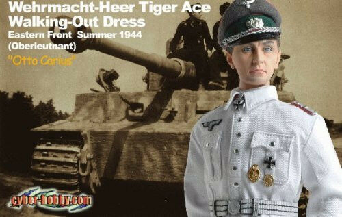Dragon Cyber Hobby Otto Carius Tiger Ace Figure with ID Card WWII German Action Figure 70320 DRF70320