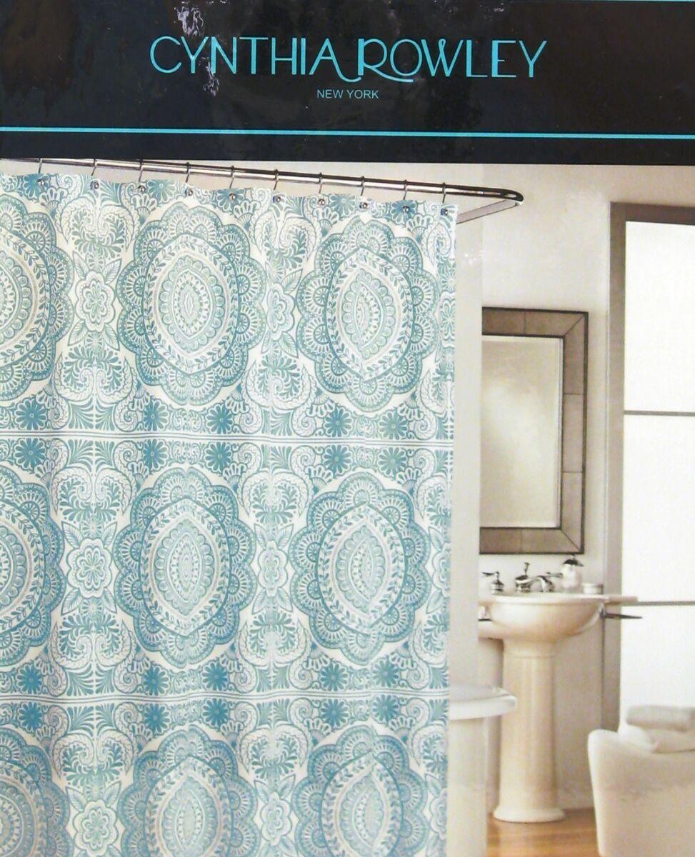 Cynthia Rowley Cotton Shower Curtain Dusty Aqua Medallion New