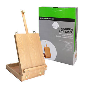 DALER-ROWNEY-WOODEN-TABLE-EASEL-ART-STORAGE-BOX-OIL-PAINTS-DRAWING-SKETCHING