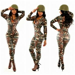 damen sexy armee soldat overall catsuit kost m party club. Black Bedroom Furniture Sets. Home Design Ideas