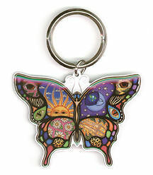 DAN MORRIS CELESTIAL DAY/NIGHT BUTTERFLY METAL KEYCHAIN SUN MOON FLOWER KEYCHAIN in Collectibles, Pez, Keychains, Promo Glasses, Keychains | eBay