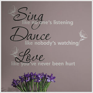 DANCE SING LOVE Wall Stickers Quotes Vinyl Decals Decor in Home & Garden, Home Decor, Decals, Stickers & Vinyl Art | eBay
