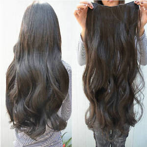 DARK-BROWN-clip-in-hair-extension-curl-curly-wav-y-long-head-ponytail-natural-m5
