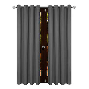 details about dark grey 2 x eyelet thermal blockout curtains 120cm x