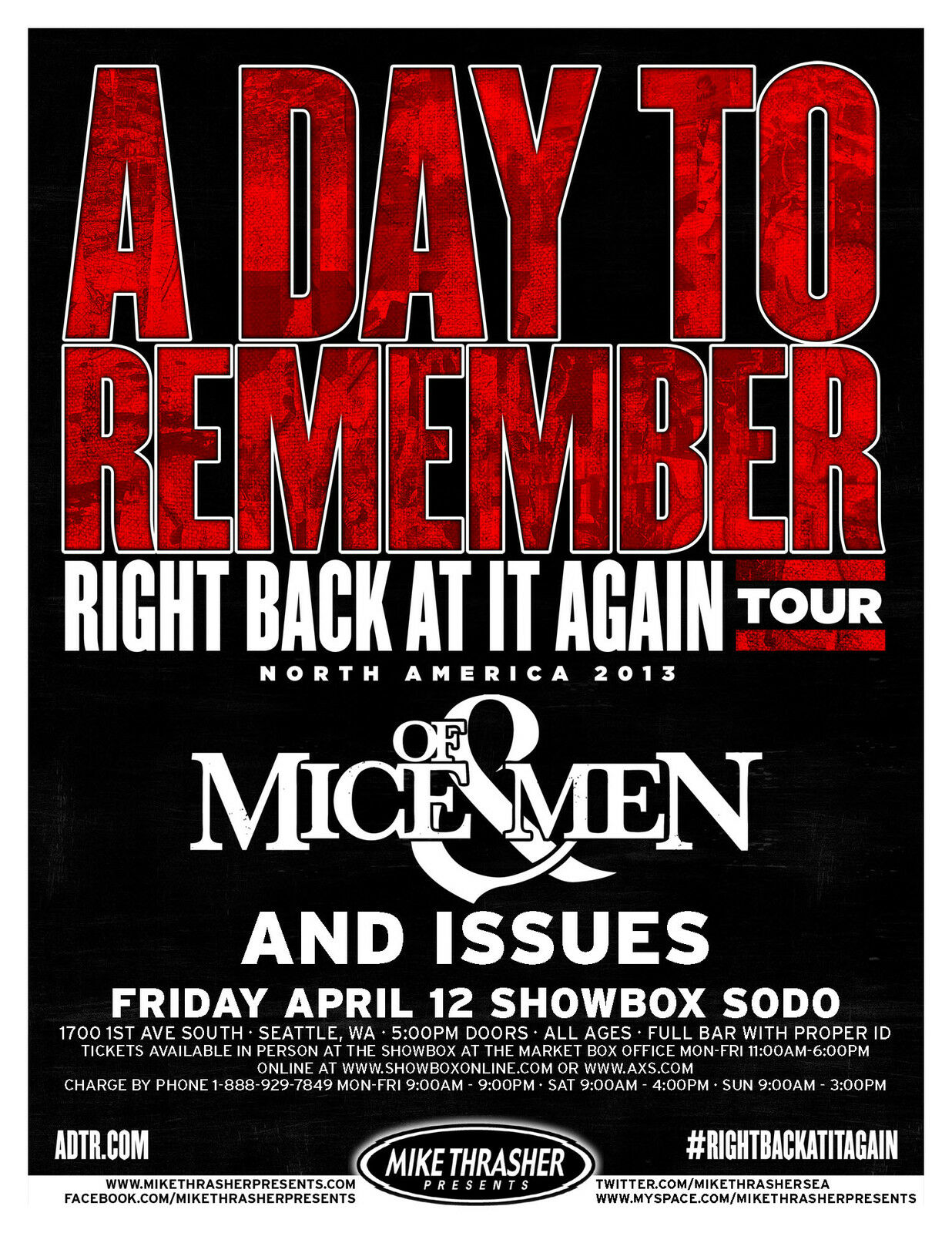 """A DAY TO REMEMBER/OF MICE & MEN """"RIGHT BACK AT IT AGAIN ... A Day To Remember Right Back At It Again"""