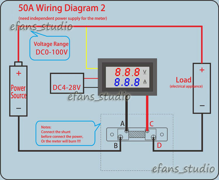 volt amp meter wiring diagram for led wiring diagram libraries volt meter shunt wiring diagram simple wiring schema0~100v 50a dc digital led voltmeter ammeter