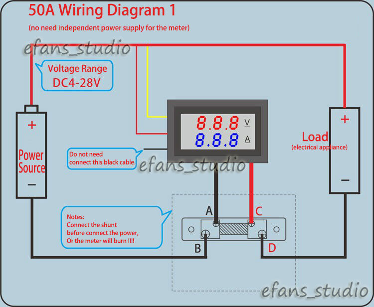 2in1 DC100V 50A Voltmeter Digital LED Volt Ammeter Volt ...